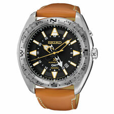New Seiko SUN055 Prospex Kinetic GMT Black Dial Brown Leather Strap Mens Watch