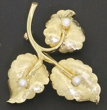 Tiffany & Co. 18k Italy Yellow Gold Hammered Flower Brooch w/ Pearl - 8.55 Grams