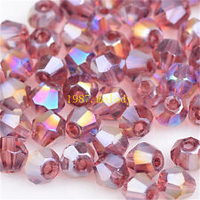 500pcs purple red ab exquisite Glass Crystal 4mm #5301 Bicone Beads c12
