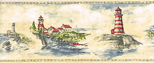 Red Lighthouse Seaside Villages Ocean Scenic Self Adhesive Wall paper Border