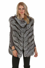 Women's Real Natural Silver Fox Fur Vest Long - Chevron Design
