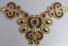 Huge Pink Crystal Bib Necklace Fleur Di Lis Egyptian Gold-Tone Adjustable 19-23