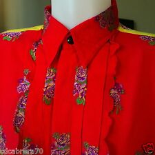 vintage GIANNI VERSACE 1993 cotton shirt with embroidered flowers & ruffles 52