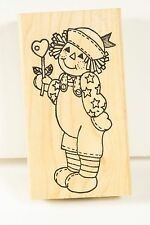 RAGGEDY ANDY DOLL HOLDING HEART BALLOON rubber stamp AZADI EARLES