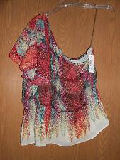 NEW ANA sz XL Pink Cream Turquiose One Shoulder Cute Cover up Shirt Tank top!!!