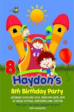 Personalised Birthday Invitations Inflatable Slide / Bouncy Castle Party x 5