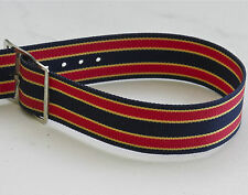 Vintage NOS watch 17.3mm nylon band 1960s red, blue & yellow with silver buckle