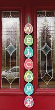 Easter Bunny Egg Welcome Door Wreath Wall Hanging Sign Pick Spray Decor Swag 32""