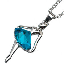 2.86 Ct Pentagon Cut Style Blue Topaz 18K White Gold Plated Ballet Angel Pendant