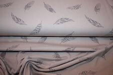 ANGEBOT - Baumwolljersey   50 x 150 cm  Feder auf grau