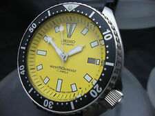 Vintage Seiko divers watch 7002 Auto Date Mod YELLOW DIAL BLACK BEZEL H52.