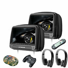 2X HDMI 9'' Touch Screen Car Pillow Headrest Monitor DVD Player Game Headphones