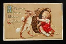 1911 Easter Greetings John Winsch Charming Rabbit with Eggs Baby Boy in Basket