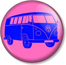VW Camper Van Logo 25mm Pin Button Badge Retro Volkswagen Pink and Blue Hippie