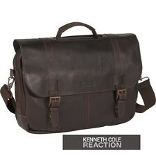 Kenneth Cole Reaction Brown leather Laptop bag 4-Inch Flapover computer case NWT