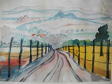 Aquarelle de Hans KEPLER - Paysage lorrain un matin d'été - signée et encadrée -
