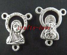 30pcs Tibet Silver Rosary Mary Child Jesus Connectors 18.5x15mm 1206
