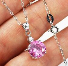 Stunning 925 Sterling Silver,Pink Cubic Zirconia Pendant Necklace jewellery 18""