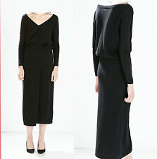*ZARA*Black Knitted V-Neck Long Sleeve With Slit Skirt Casual Long Dress sz-S