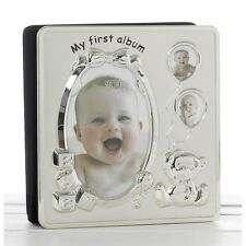 SATIN SILVER MY FIRST YEAR BABY PICTURE PHOTO ALBUM CHRISTENING GIFT