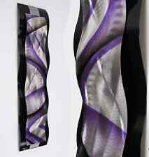 Modern Abstract Metal Wall Sculpture Art Black & Purple Painting Home Decor New