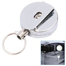 EZI - Steel Retractable Pull Chain ID Holder Reel Recoil Key Ring Belt Clip US