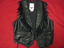 Classic Leather Black Fringed Concho Biker Vest - Women's Large Fitted - U.S.A.