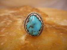 Ring Native American Sterling Silver Turquoise By Navajo Charlie Bowie Size 7