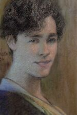 Georges M.Baltus Belgique Pastel Encadré Portrait de Jeune Femme Art Déco 1934