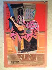 Old Pastel & Chalk Cubist Drawing Modernist Painting Signed Braque Collage Like