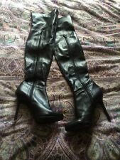 Zara Black 100% Leather Stretch Thigh Over Knee Boots Blogger Rare 5 38