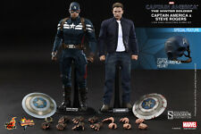 HOT TOYS CAPTAIN AMERICA AND STEVE ROGERS 1:6 FIGURE SET ~Sealed in Brown Box~