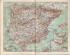 Landkarte map 1910: SPANIEN UND PORTUGAL. Azoren Mittelmeer Balearen Gibraltar
