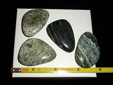 DINO: 4 Wonderful ZEBRA SERPENTINE Polished Flat Stones from Brazil - 57 gr.