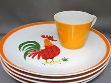 4 Retro Rooster Breakfast Snack Plates & Cups Sets Orange Porcelain Luncheon