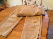 Men's Carhartt Tan Insulated Quilt-Lined Bib Overalls-34 x29 Stain Rip Flawed