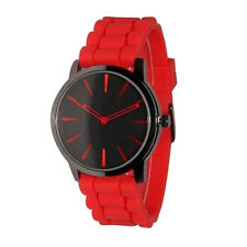 Fashion Unisex Watch Sport Hollow Out Pointer Silicone Jelly Wrist Watch Red