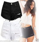 Size 6 8 10 12 14 NEW HIGH WAIST BLACK SHORTS Ladies DENIM RIP HIGH WAISTED JEAN
