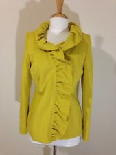 INC Womens Bright Yellow Ruffled Collar Fitted Blazer Jacket Blouse Size M