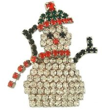 NEW CRYSTAL CHRISTMAS SNOWMAN BROOCH PIN MADE WITH SWAROVSKI ELEMENTS