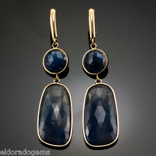 GEMSTONE DANGLE EARRINGS - NATURAL SLICED BLUE SAPPHIRE IN 14K YELLOW GOLD