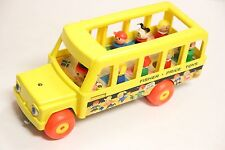Vintage Fisher Price Little People Happy School Bus Toy Set Family Pull Car 1984