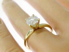 0.93ct Genuine Untreated Diamond Solitaire Engagement Ring Solid 14K Yellow Gold