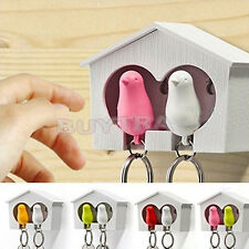 Couple Sparrow House Whistle Keychain Keyfob, Bird Keyring, Family Key Holder