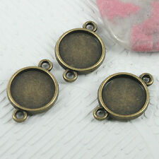14pcs antiqued bronze round shaped cabochon setting connector EF0719