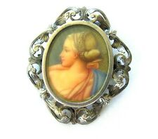 ANTIQUE VICTORIAN 800  SILVER HAND PAINTED PORTRAIT PIN BROOCH PENDANT