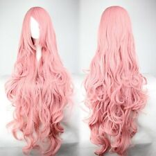 Fashion Womens Wigs Long Curly Vocaloid Megurine Luka Cosplay Party Smoke Pink