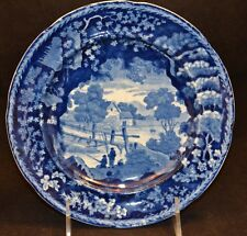 Dark Blue Staffordshire Adams Warranted Eagle Mark Plate Boys Fishing Bridge