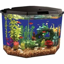 Aqua Culture Semi Hex Aquarium Betta Kit LED Lighting Tropical Fish Tank Home