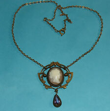VINTAGE Art Deco Cameo Necklace - 17 1/2""